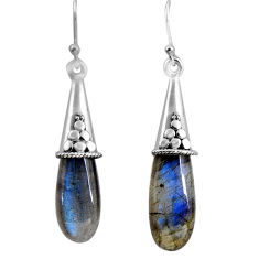 15.90cts natural blue labradorite 925 sterling silver dangle earrings p89708