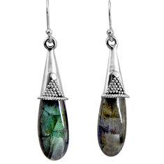 17.47cts natural blue labradorite 925 sterling silver dangle earrings p89728