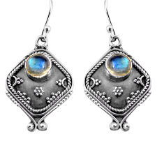 2.81cts natural blue labradorite 925 sterling silver dangle earrings p91329