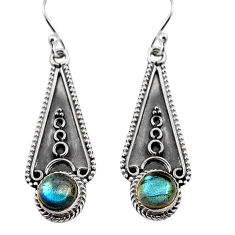 2.72cts natural blue labradorite 925 sterling silver dangle earrings p91333
