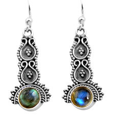 2.44cts natural blue labradorite 925 sterling silver dangle earrings p91348