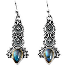 3.29cts natural blue labradorite 925 sterling silver dangle earrings p91350