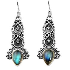 3.51cts natural blue labradorite 925 sterling silver dangle earrings p91352