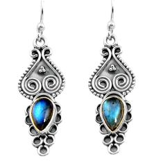 2.44cts natural blue labradorite 925 sterling silver dangle earrings p91357