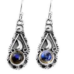 2.44cts natural blue labradorite 925 sterling silver dangle earrings p91385