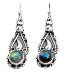 2.45cts natural blue labradorite 925 sterling silver dangle earrings p91386