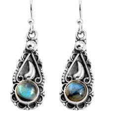 2.31cts natural blue labradorite 925 sterling silver dangle earrings p91387