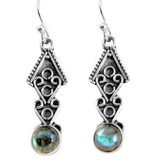 2.58cts natural blue labradorite 925 sterling silver dangle earrings p91393