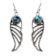 2.01cts natural blue labradorite 925 sterling silver dangle earrings p91416