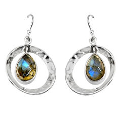 4.93cts natural blue labradorite 925 sterling silver dangle earrings p91508