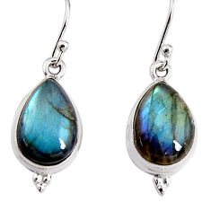 10.02cts natural blue labradorite 925 sterling silver dangle earrings p91606