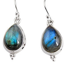 10.78cts natural blue labradorite 925 sterling silver dangle earrings p91608
