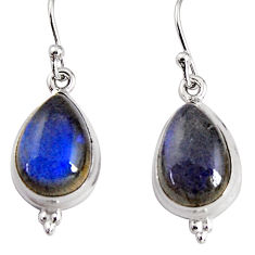 10.78cts natural blue labradorite 925 sterling silver dangle earrings p91619