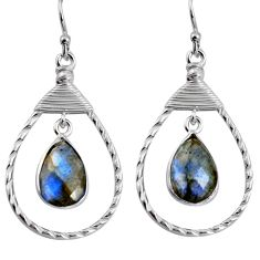 6.85cts natural blue labradorite 925 sterling silver dangle earrings p92494