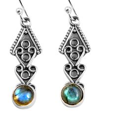 2.42cts natural blue labradorite 925 sterling silver dangle earrings p92744