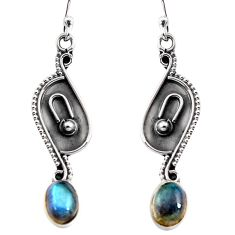 3.06cts natural blue labradorite 925 sterling silver dangle earrings p92746