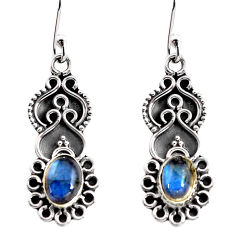 2.93cts natural blue labradorite 925 sterling silver dangle earrings p92749