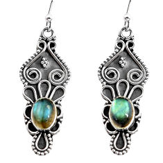 3.11cts natural blue labradorite 925 sterling silver dangle earrings p92750
