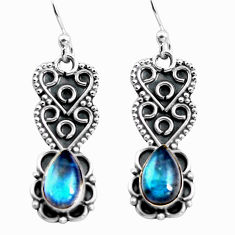 2.91cts natural blue labradorite 925 sterling silver dangle earrings p92752