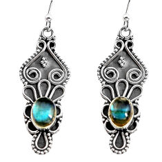 3.11cts natural blue labradorite 925 sterling silver dangle earrings p92753