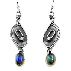 2.93cts natural blue labradorite 925 sterling silver dangle earrings p92755