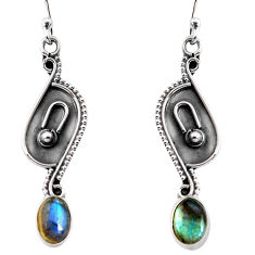2.72cts natural blue labradorite 925 sterling silver dangle earrings p92760