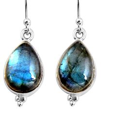8.87cts natural blue labradorite 925 sterling silver dangle earrings p92787