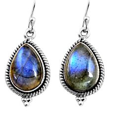 11.07cts natural blue labradorite 925 sterling silver dangle earrings p92790