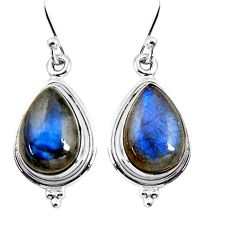 11.57cts natural blue labradorite 925 sterling silver dangle earrings p92791