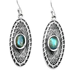 3.53cts natural blue labradorite 925 sterling silver earrings jewelry p34412