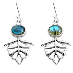 5.63cts natural blue labradorite 925 sterling silver earrings jewelry p38455