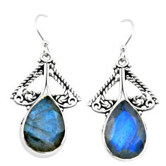 14.12cts natural blue labradorite 925 sterling silver earrings jewelry p70583