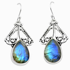 13.71cts natural blue labradorite 925 sterling silver earrings jewelry p70585