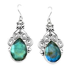 14.41cts natural blue labradorite 925 sterling silver earrings jewelry p70589