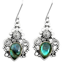 7.12cts natural blue labradorite 925 sterling silver flower earrings p50719