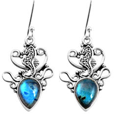 5.87cts natural blue labradorite 925 sterling silver seahorse earrings p41499