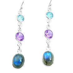 10.70cts natural blue labradorite amethyst 925 silver dangle earrings p66461