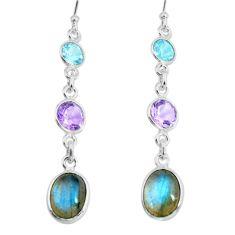 9.45cts natural blue labradorite amethyst 925 silver dangle earrings p66462