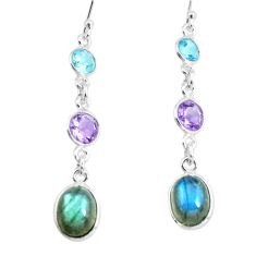 10.64cts natural blue labradorite amethyst 925 silver dangle earrings p66463