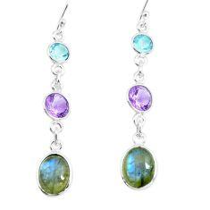 8.82cts natural blue labradorite amethyst 925 silver dangle earrings p66465