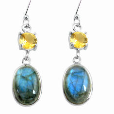 Clearance Sale- 10.65cts natural blue labradorite citrine 925 silver dangle earrings d31649
