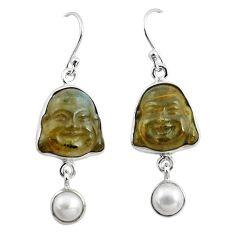 15.65cts natural blue labradorite pearl 925 silver buddha charm earrings p78133