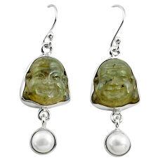 16.20cts natural blue labradorite pearl 925 silver buddha charm earrings p78134