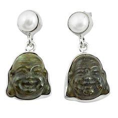 16.70cts natural blue labradorite pearl 925 silver buddha charm earrings p78135
