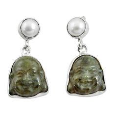 17.22cts natural blue labradorite pearl 925 silver buddha charm earrings p78136