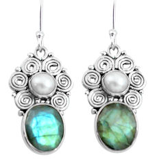 Clearance Sale- 9.10cts natural blue labradorite pearl 925 silver dangle earrings jewelry d31642
