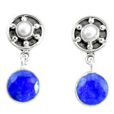 13.34cts natural blue labradorite pearl 925 silver dangle earrings p51501