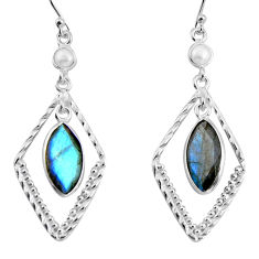11.70cts natural blue labradorite pearl 925 silver dangle earrings p89960