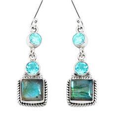 12.85cts natural blue labradorite topaz 925 silver dangle earrings p39491