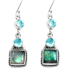 12.85cts natural blue labradorite topaz 925 silver dangle earrings p39498